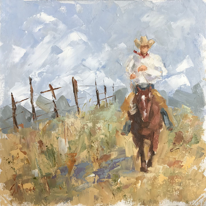 texas cowboy oil painting