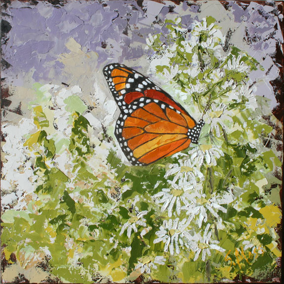 Monarch Butterfly Oil Painting Susan Moss Cooper